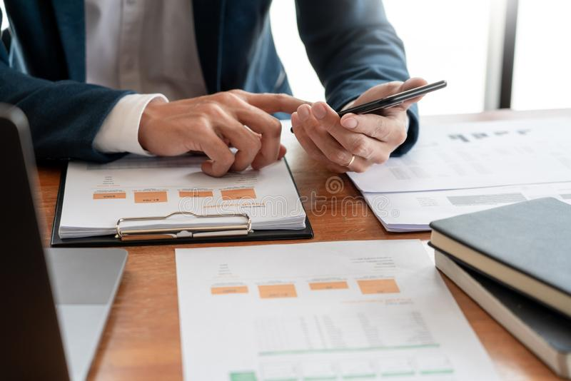 Strategy analysis concept, Businessman working  financial Manager Researching Process accounting calculate analyse market graph. Data stock information review stock photos