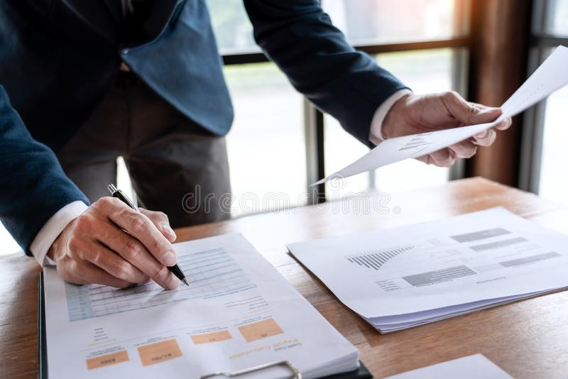Strategy analysis concept, Businessman working  financial Manager Researching Process accounting calculate analyse market graph royalty free stock photography