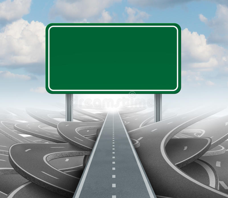 Strategy Blank Sign. As a clear plan and solutions for business leadership with a straight path to success choosing the right strategic road with a green stock illustration