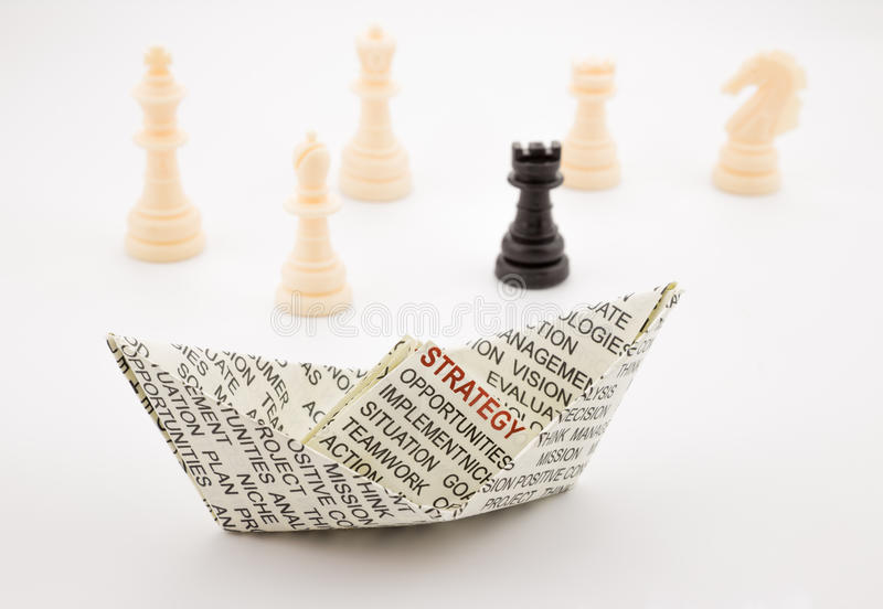 Strategy boat and chess stock photo