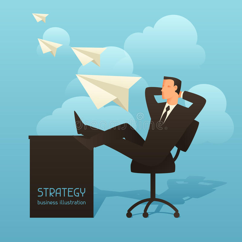 Strategy business conceptual illustration with businessman and paper planes. Image for web sites, articles, magazines.  vector illustration