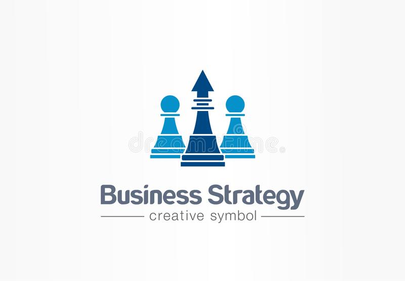 Strategy, chess and arrow up creative symbol concept. Finance success, leader abstract business logo idea. Increase royalty free illustration