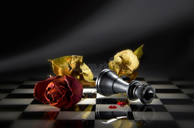Strategy Chess Game. With dry rose and queen stock images