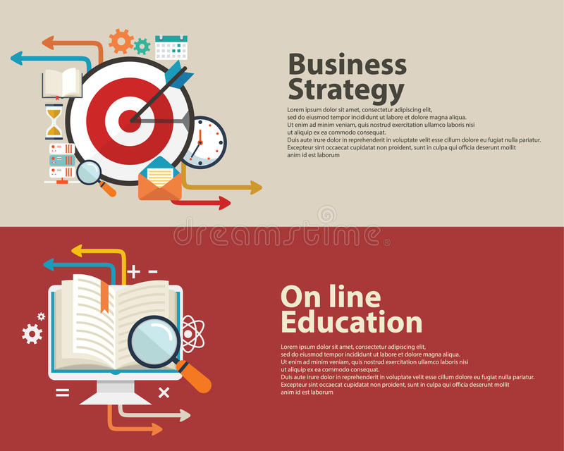 Strategy concept, business consulting, On line Education flat modern design . Web banner design. royalty free illustration