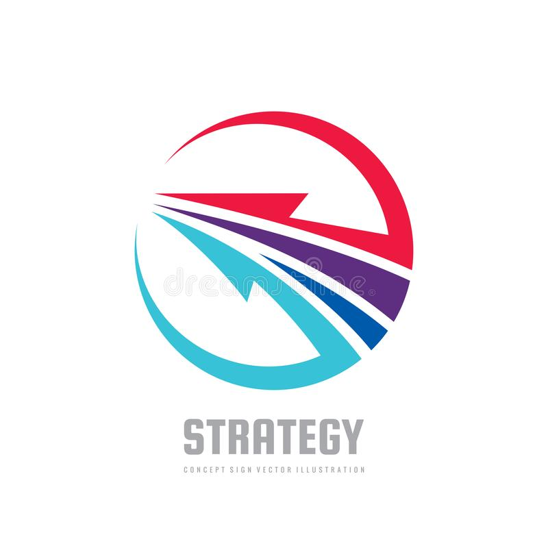 Strategy - concept business logo template vector illustration. Development creative sign. Abstract arrow in circle shape. stock illustration