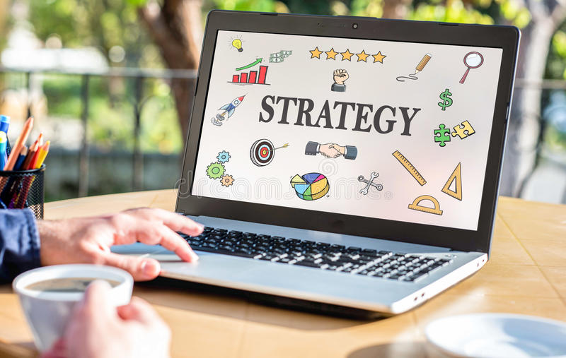 Strategy Concept With Various Hand Drawn Doodle Icons On Laptop. Strategy Concept With Various Hand Drawn Doodle Icons OnLaptop Screen Outdoors royalty free stock image
