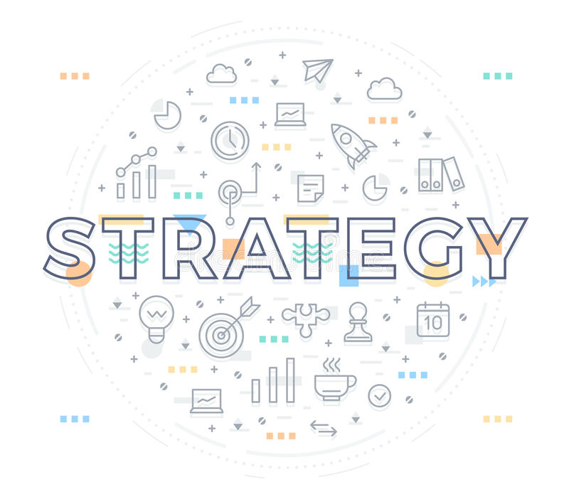 Strategy Concept. Vector illustration of marketing and business strategy. Concept of word strategy with thin line elements and icons for website and printed vector illustration