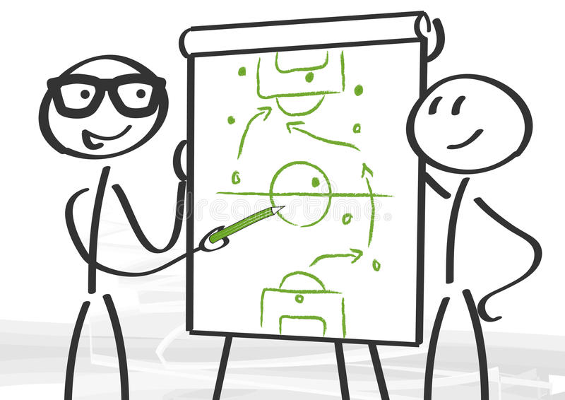 Strategy and consulting. Tactics on the flip chart vector illustration