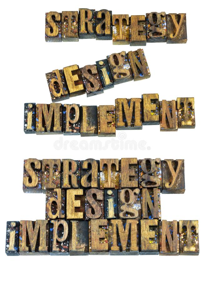 Strategy design implement planning message. Strategy design implement business planning message letterpress wood blocks letters words inspiration goals royalty free stock images