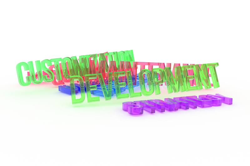 Strategy, Development, business conceptual colorful 3D rendered words. Rendering, background, web & text. Strategy, Development, business conceptual colorful 3D royalty free illustration