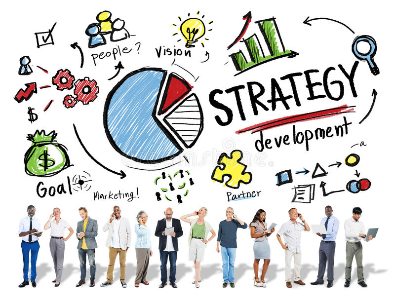 Strategy Development Goal Marketing Vision Planning Business Con stock image