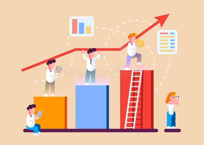 Strategy of long term planning vector illustration. Businessman building up analyzing project financial report and successful vector illustration