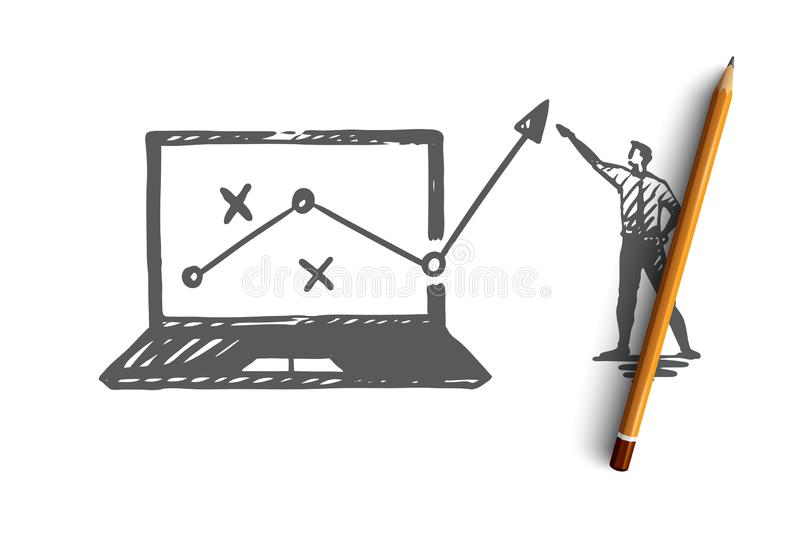 Strategy, marketing, graph, diagram, arrow concept. Hand drawn isolated vector. royalty free illustration