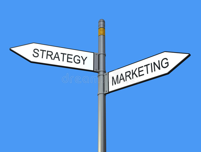 Strategy and marketing sign-post stock illustration