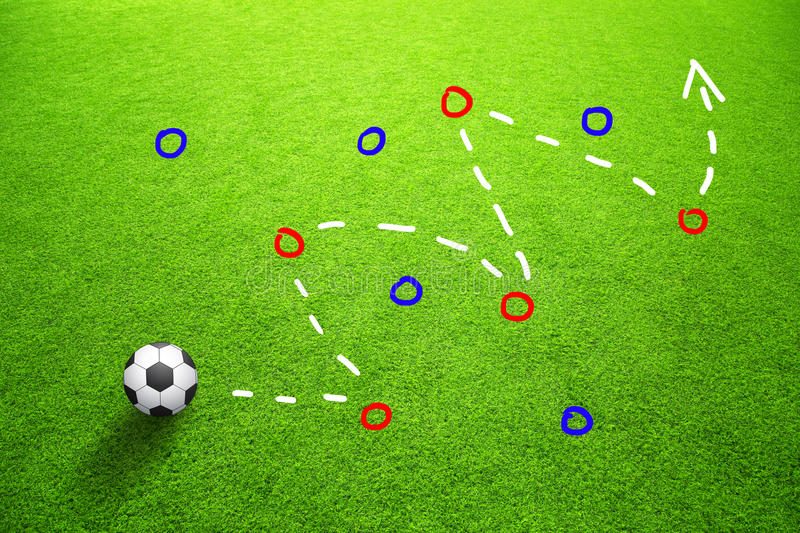 Strategy plan soccer ball game background vector illustration