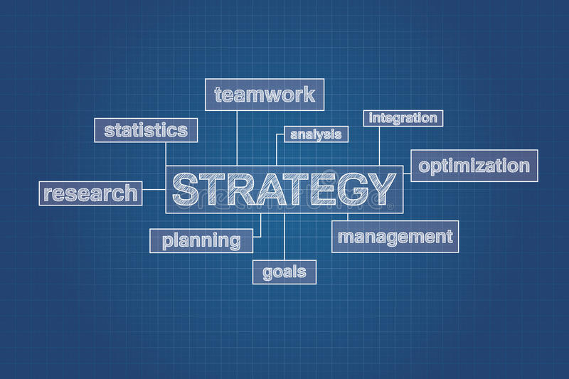 Strategy planning concept word cloud on blueprint vector illustration