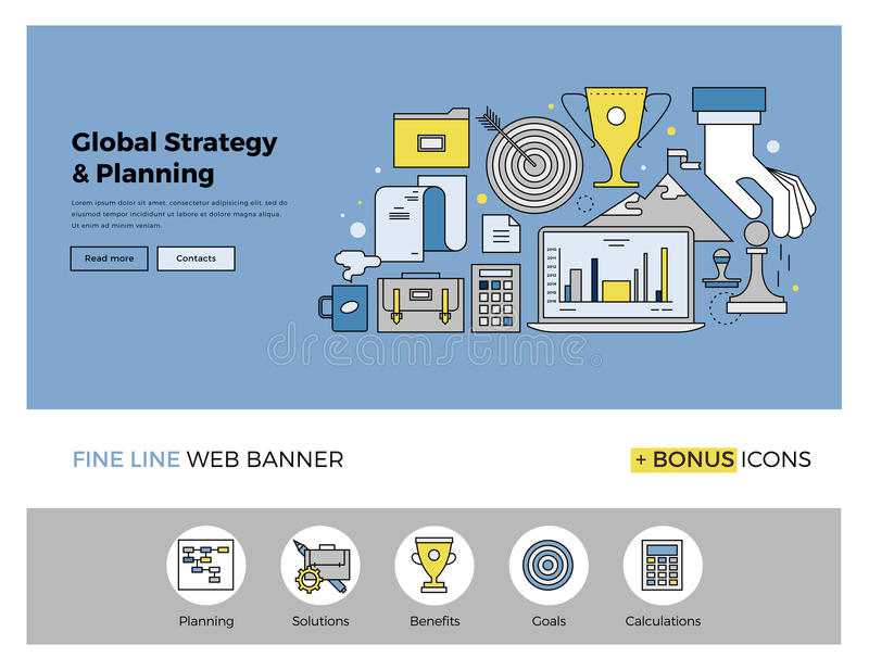 Strategy planning flat line banner. Flat line design of web banner template with outline icons of global business strategy, success market planning and corporate vector illustration