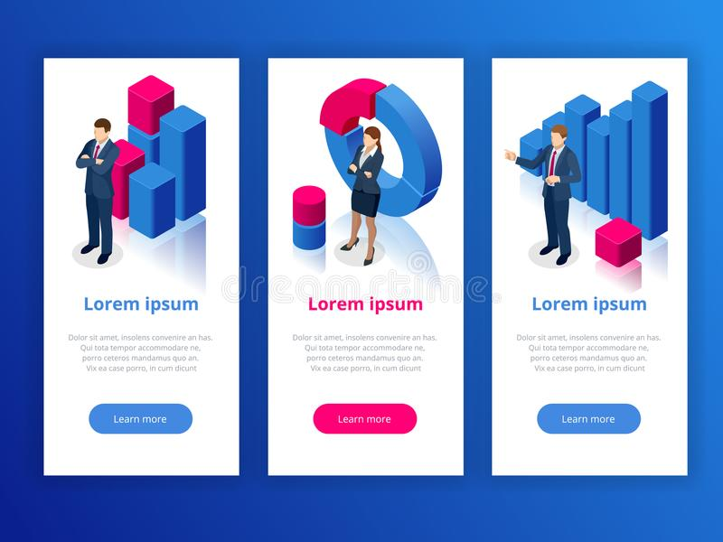 Strategy and planning web banner. Data and investments. Business analysis graphs analysing business performance. Accounting data. Vector illustration royalty free illustration