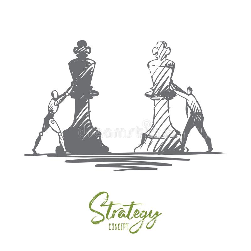 Strategy, purpose, HCI, automation, technology, businessman concept. Hand drawn isolated vector. vector illustration