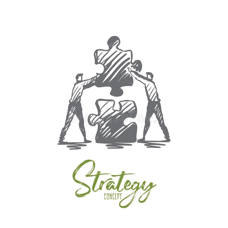 Strategy, puzzle, business, teamwork, success concept. Hand drawn isolated vector. royalty free illustration