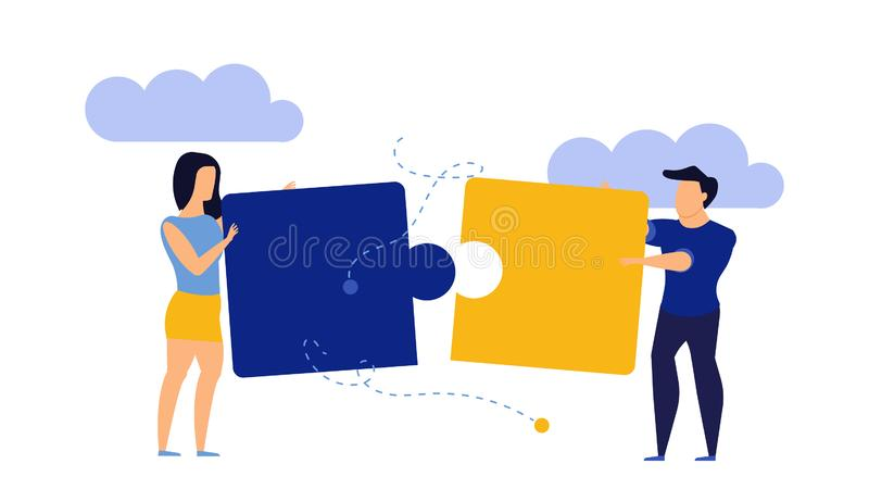 Strategy puzzle person success teamwork vector business illustration. Together connect piece jigsaw idea. Concept building office vector illustration