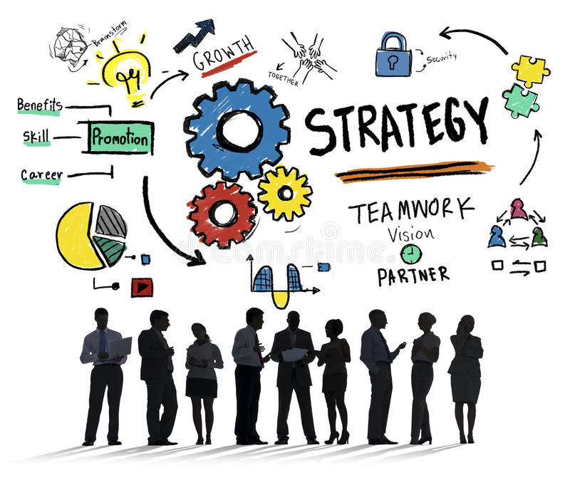 Strategy Solution Tactics Teamwork Growth Vision Concept vector illustration
