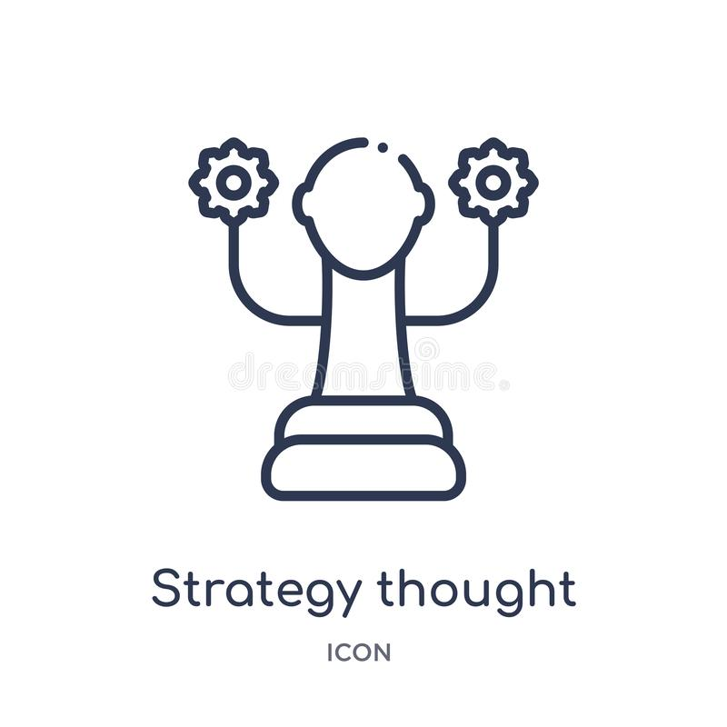 strategy thought icon from startup stategy and success outline collection. Thin line strategy thought icon isolated on white vector illustration