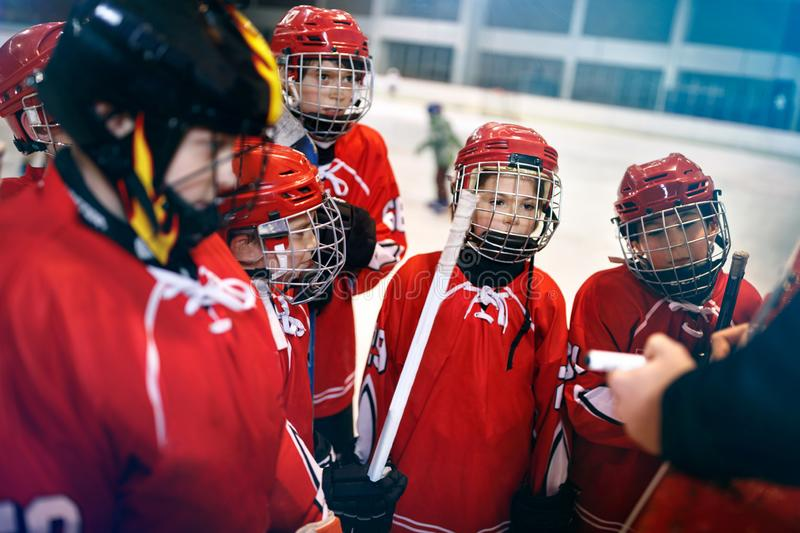 Strategy to win in ice hockey. Tactics coach stock photography