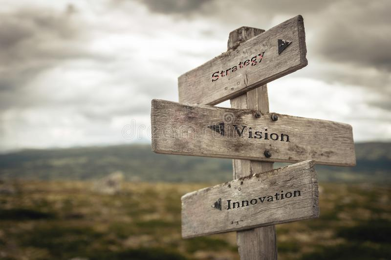 Strategy, vision and innovation signpost royalty free stock images