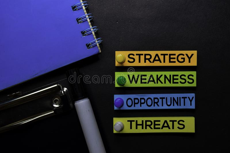 Strategy, Weakness, Opporunity, Threats SWOT text on sticky notes isolated on Black desk. Mechanism Strategy Concept stock photo