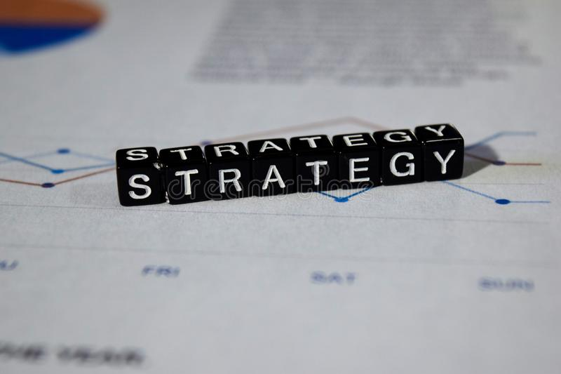 Strategy on wooden blocks. Business Planning Process Solution Concept stock photos