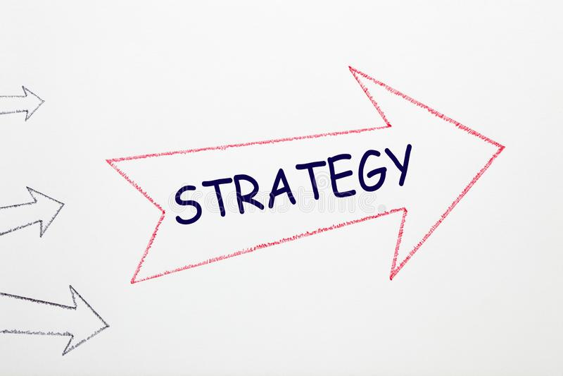 Strategy Word On Arrow royalty free stock photos