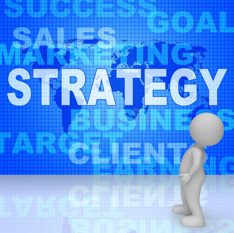 Strategy Words Indicates Solutions Vision And Trade 3d Rendering stock illustration