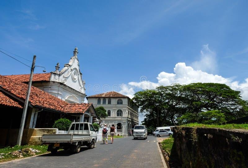 Straten bij oud koloniaal Fort Galle in Sri Lanka stock foto's