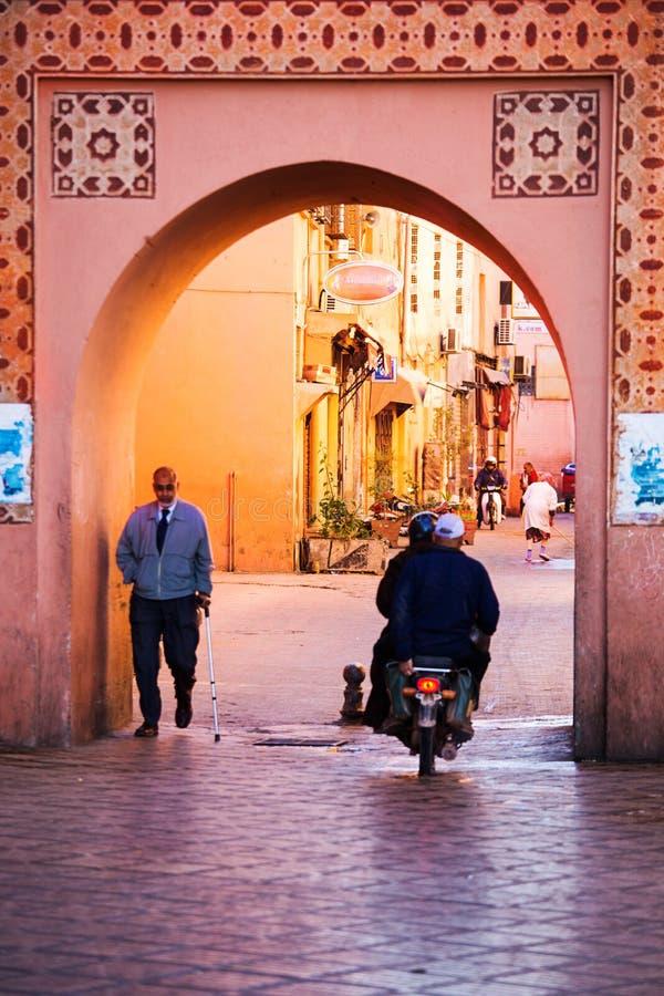 Straten in medina van Marrakech stock foto