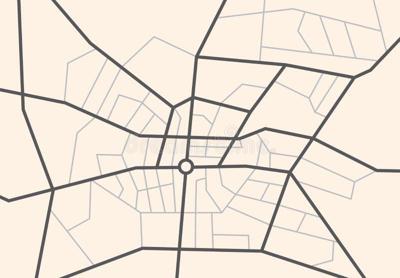 Straten op de stadskaart - vectorregeling royalty-vrije illustratie
