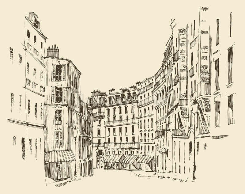 Straten in Parijs, Frankrijk, wijnoogst gegraveerde illustratie, getrokken hand stock illustratie