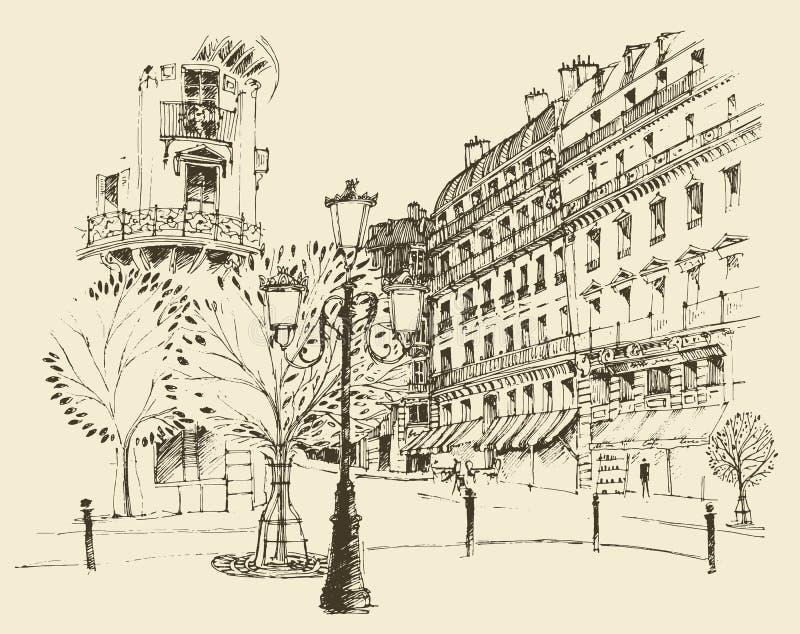 Straten in Parijs, Frankrijk, wijnoogst gegraveerde illustratie, getrokken hand royalty-vrije illustratie