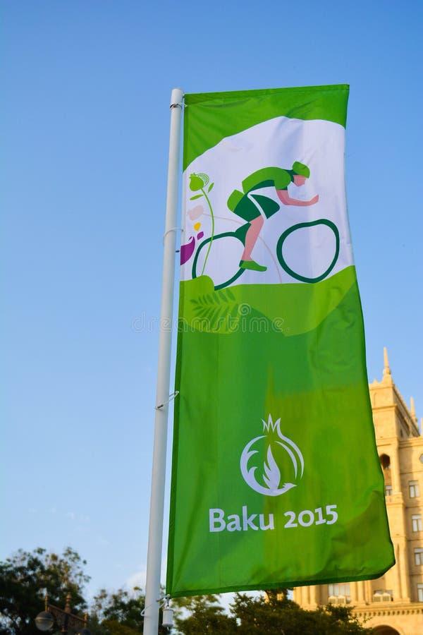 Straten van Baku, 1st Europese spelen in Baku stock fotografie