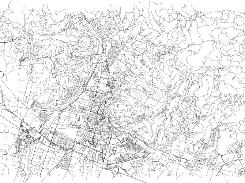 Straten van Brescia, stadskaart, Lombardije, Italië vector illustratie