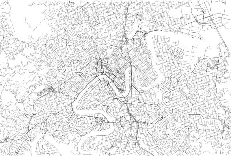 Straten van Brisbane, stadskaart, Australië Straatkaart vector illustratie