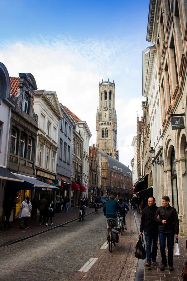 Straten van Brugge stock afbeelding