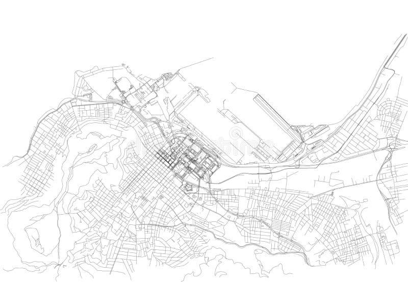 Straten van Cape Town, stadskaart, Zuid-Afrika vector illustratie