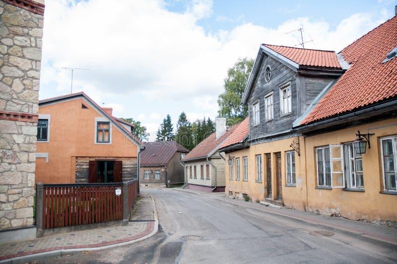 Straten van Cesis, Letland stock foto