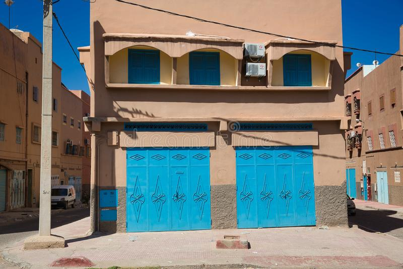 Straten van de Marokkaanse stad Tiznit, Marokko 2017 stock afbeelding