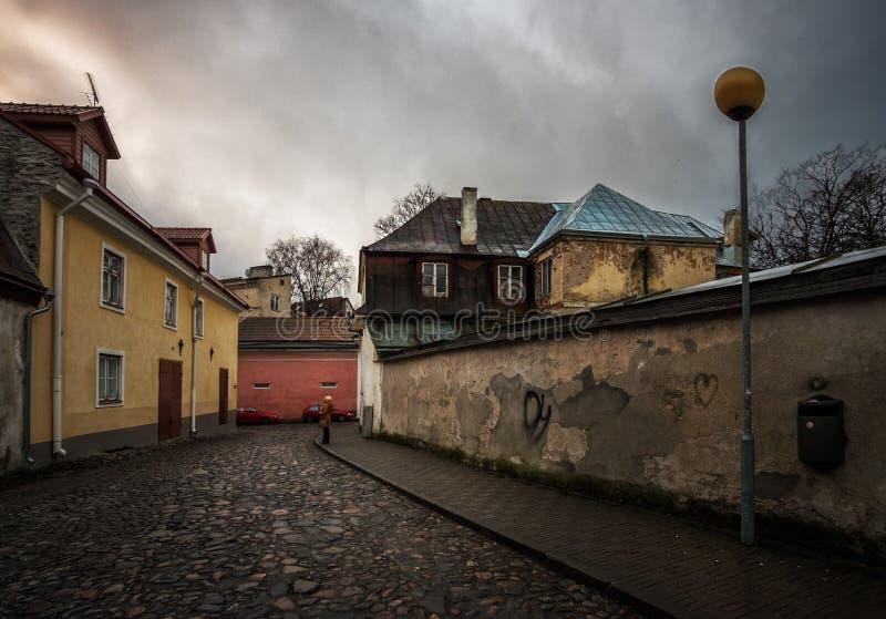 Straten van de oude stad van Tallinn Estland stock afbeeldingen