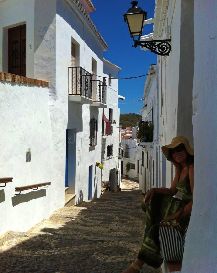 Straten van Frigiliana, Spanje, Costa del Sol royalty-vrije stock foto