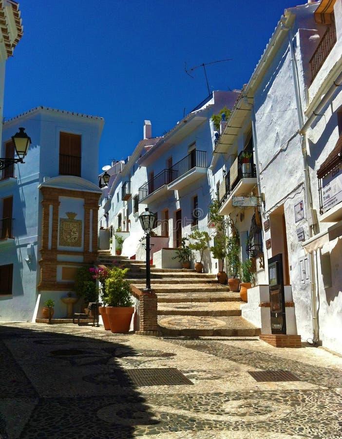 Straten van Frigiliana, Spanje, Costa del Sol stock afbeelding