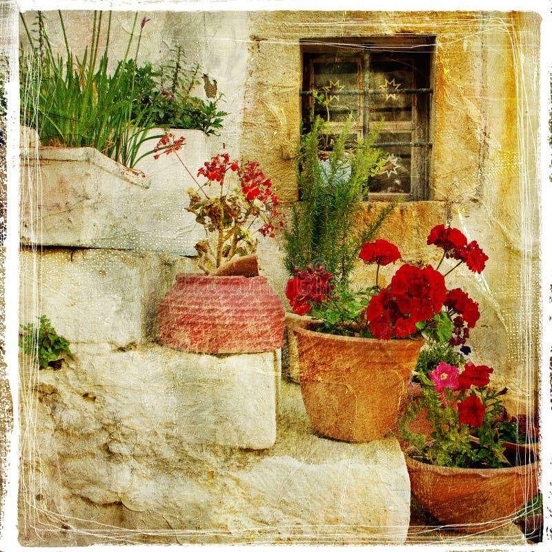 Straten van Griekse dorpen royalty-vrije stock foto