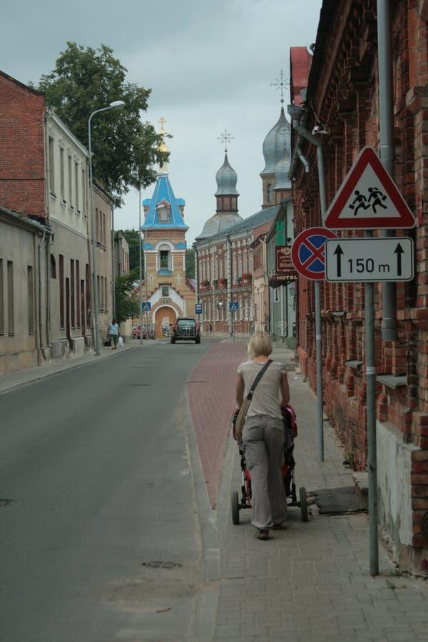 Straten van Jékabpils stock foto